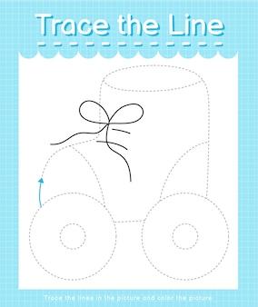 Проведите линию по пунктирным линиям и раскрасьте роликовые коньки.