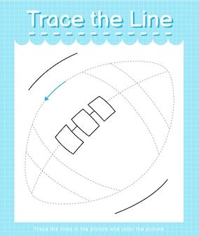 Проведите линию по пунктирным линиям и раскрасьте картинку регби.