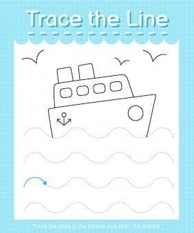 Обведите линию: проведите по пунктирным линиям и раскрасьте картинку - корабль