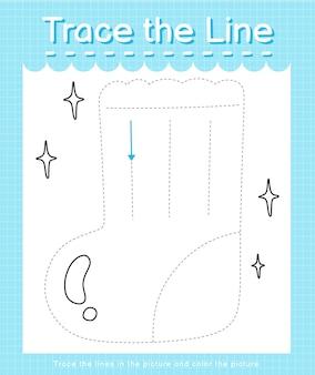 Проведите линию по пунктирным линиям и раскрасьте носок с рисунком.