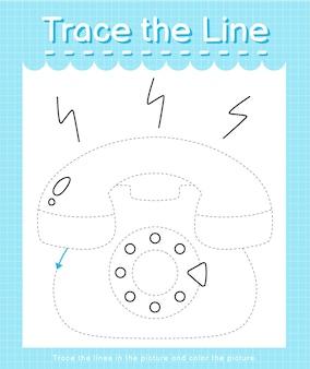 Обведите линию, следующую за пунктирными линиями, и раскрасьте картинку телефона.