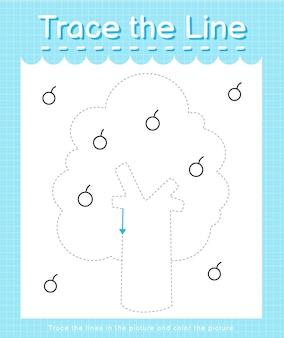 Обведите линию, следующую за пунктирными линиями, и раскрасьте дерево рисунков.