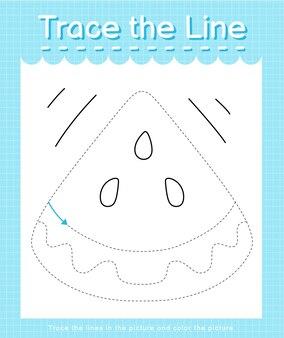 Проведите линию по пунктирным линиям и раскрасьте картинку арбузом.