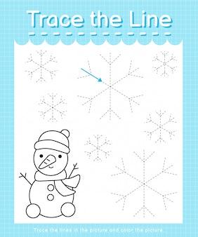 Обведите линию: проведите по пунктирным линиям и раскрасьте картинку - зима