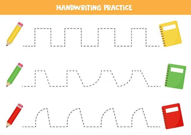 カラフルな鉛筆とコピーブックの境界線をたどります。