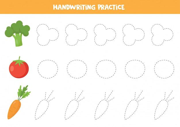 Проследите линии с мультипликационной брокколи, помидором, морковью.