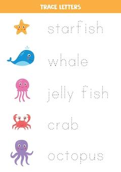 かわいい海の動物の名前をたどってください。就学前の子供のための手書きの練習。
