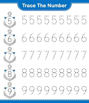 アンカー教育の子供たちのゲームの印刷可能なワークシートで番号をトレースする番号をトレースする