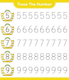番号をトレースするbeachbageducationalの子供向けゲームの印刷可能なワークシートで番号をトレースする