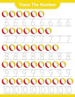 Beach ball 교육용 어린이 게임 인쇄용 워크 시트로 번호 추적 번호 추적
