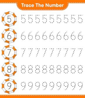 番号をトレースするbeachumbrellaeducationalの子供向けゲームの印刷可能なワークシートで番号をトレースする
