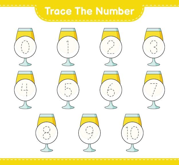 カクテル教育の子供たちのゲームの印刷可能なワークシートで番号をトレースします