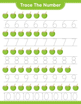 코코넛 교육 어린이 게임 인쇄용 워크 시트로 번호 추적 번호 추적