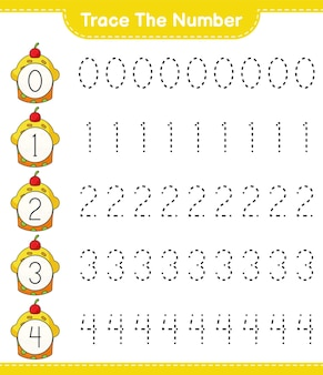 컵 케이크 교육용 어린이 게임 인쇄용 워크 시트로 번호 추적 번호 추적