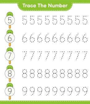 番号をトレースするicecreameducationalの子供向けゲームの印刷可能なワークシートで番号をトレースする