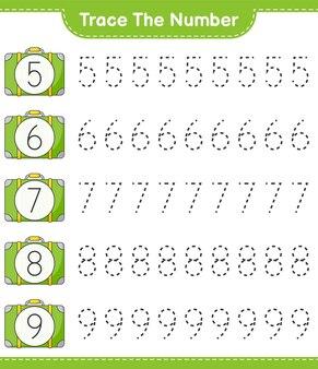 番号をトレースするluggageeducationalの子供向けゲームの印刷可能なワークシートで番号をトレースする
