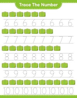 수하물 교육용 어린이 게임 인쇄용 워크 시트로 번호 추적 번호 추적