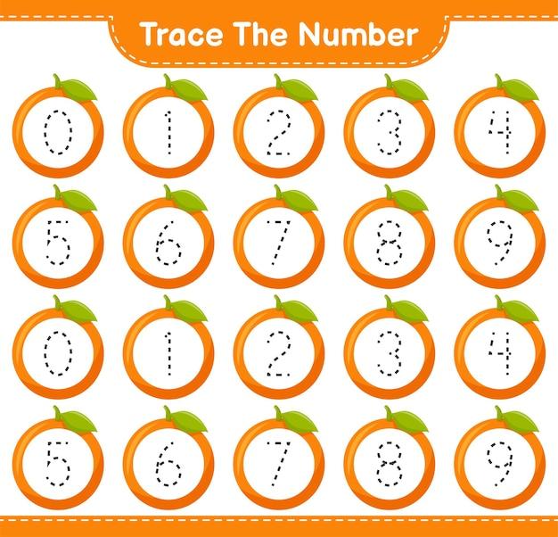 番号をトレースします。オレンジで番号をトレースします。教育的な子供向けゲーム、印刷可能なワークシート