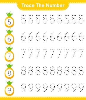番号をトレースします。パイナップルで番号をトレースします。教育的な子供向けゲーム、印刷可能なワークシート