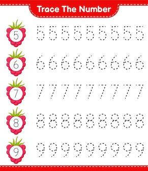 番号をトレースします。ラズベリーで数を追跡します。教育的な子供向けゲーム、印刷可能なワークシート
