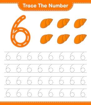 番号をトレースするseashellsで番号をトレースする教育用子供向けゲームの印刷可能なワークシート