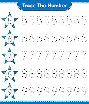スターフィッシュエデュケーショナルチルドレンゲームの印刷可能なワークシートで番号をトレースする