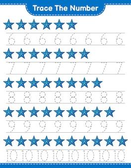 불가사리 교육용 어린이 게임 인쇄용 워크 시트로 번호 추적 번호 추적