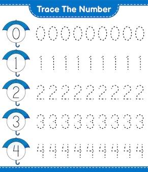 Umbrella educational 어린이 게임 인쇄용 워크 시트로 번호 추적 번호 추적