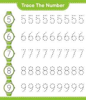 時計で番号をトレースする教育用子供向けゲームの印刷可能なワークシート