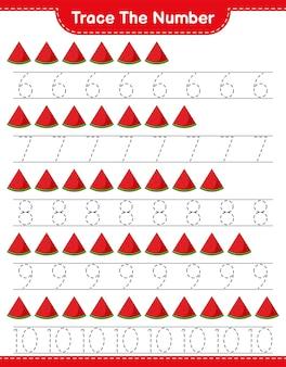 수박 교육용 어린이 게임 인쇄용 워크 시트로 번호 추적 번호 추적