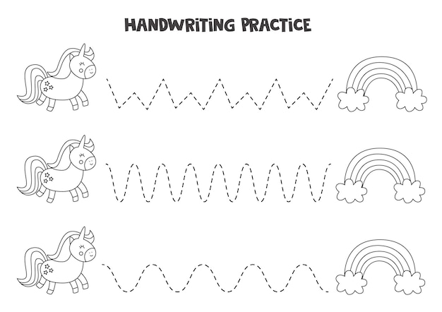 単語をトレースします。かわいいユニコーンと虹。就学前の子供のための手書きの練習。