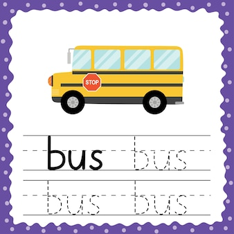 Trace word - bus flash card for toddlers. tracing practice worksheet. write the three letter word exercise for preschoolers. vector illustration