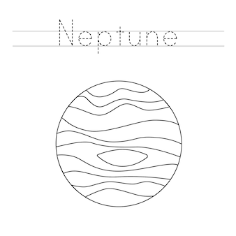 Trace the word. color neptune planet. handwriting practice for preschool kids.
