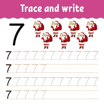 Trace and write. handwriting practice. education developing worksheet.