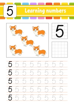 Trace and write. handwriting practice. learning numbers for kids. education developing worksheet. activity page. isolated  illustration in cute cartoon style.