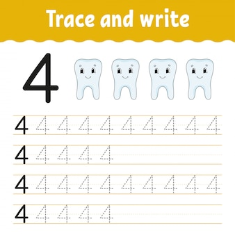 Trace and write. handwriting practice. learning numbers for kids