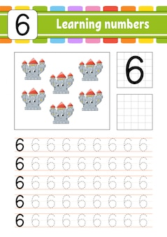 Trace and write. handwriting practice. learning numbers for kids.