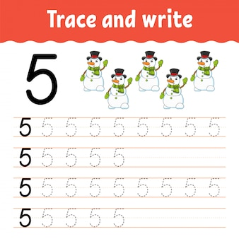 Trace and write. handwriting practice.