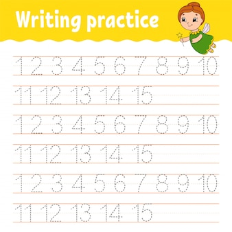 Trace and write. number 1-15. handwriting practice.