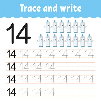 Trace and write. number 14. handwriting practice. learning numbers for kids.
