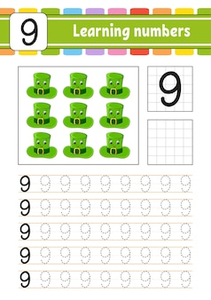 Trace and write numbers. handwriting practice. learning numbers for kids.
