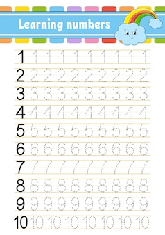 Trace and write numbers. handwriting practice. learning numbers for kids