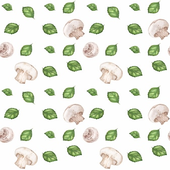 Traced watercolor seamless pattern with champignons and green basil