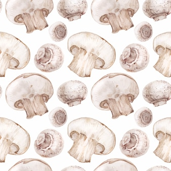 Traced watercolor seamless pattern with champignons