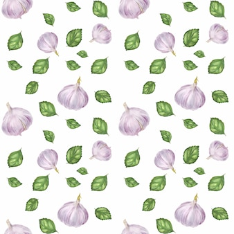 Traced watercolor seamless pattern with garlic and green basil