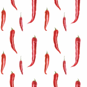 Traced watercolor seamless pattern with hot pepper