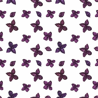 Traced watercolor seamless pattern with purple basil