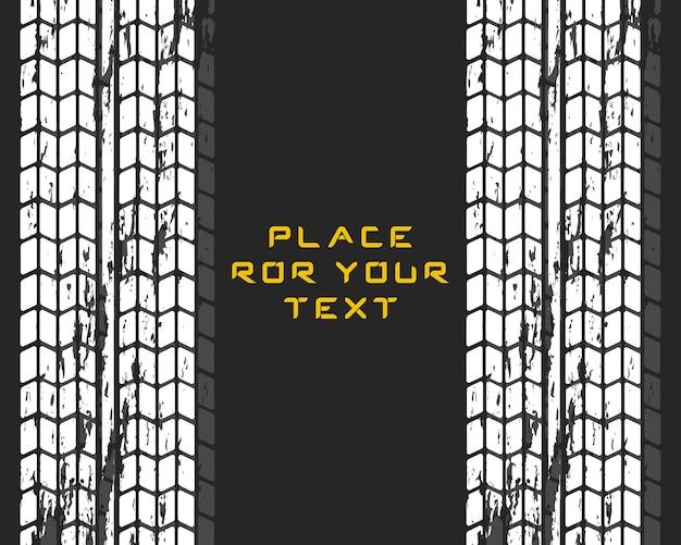 Следы автомобильных покрышек. мотокросс, велосипедная дорожка, автомобильная трасса или автогонки. автосервис по замене шин.