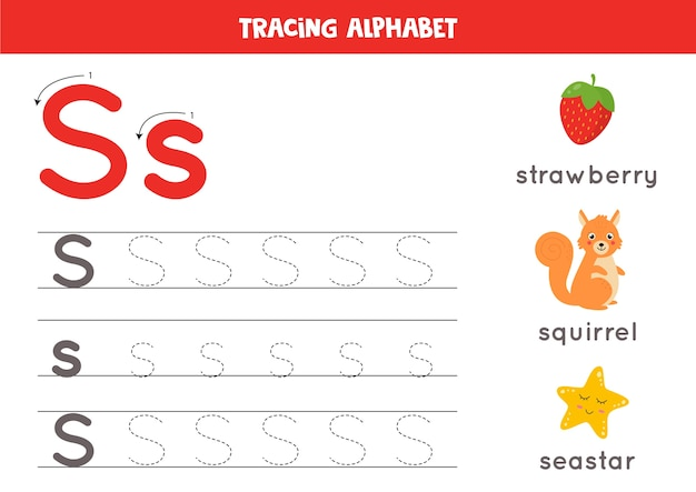 Tracing all letters of english alphabet. preschool activity for kids. writing uppercase and lowercase letter s. cute illustration of squirrel, strawberry, sea star. printable worksheet.