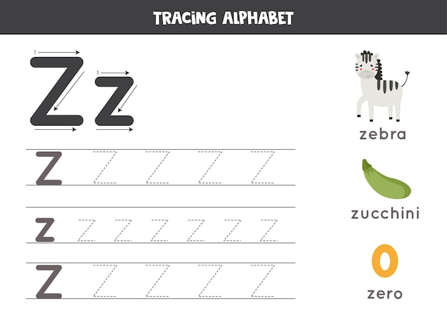 Tracing all letters of english alphabet. preschool activity for kids. writing uppercase and lowercase letter z. cute illustration of zebra, zero, zucchini. printable worksheet.